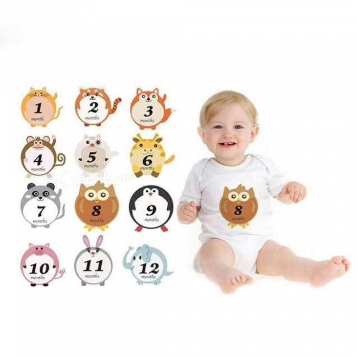 Buy Cute Cartoon Baby Climbing Clothes Animal Stickers Baby Sticker for taking Pictures In Different Months As picture with Litecoins with Free Shipping on Gipsybee.com