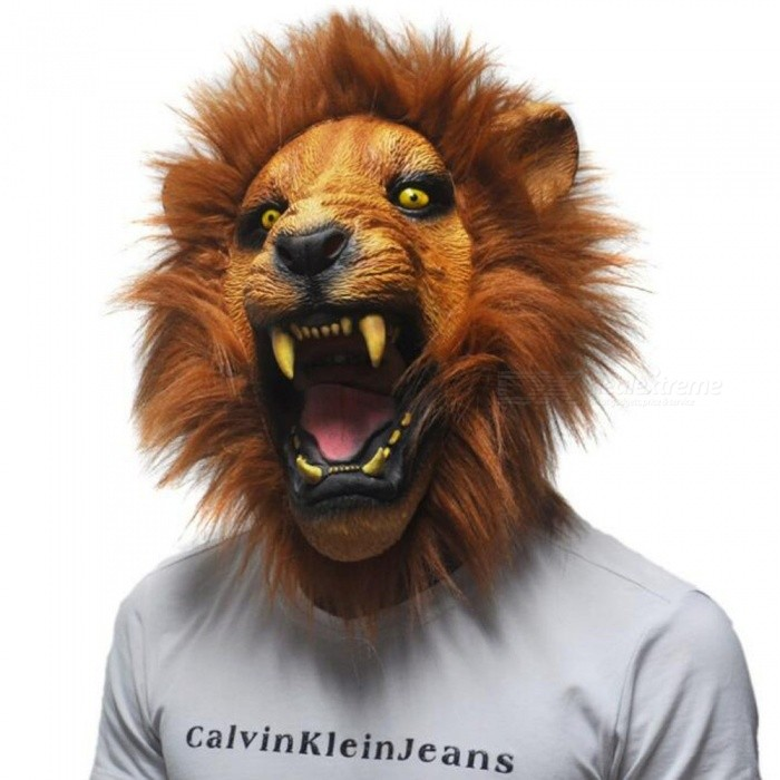 Buy Latex Mask Realistic Halloween Horror Scary Mask Full Face Ferocious Angry Lion Head Animal Masquerade Party Silicon Mask Yellow with Litecoins with Free Shipping on Gipsybee.com