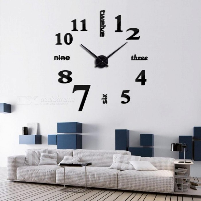 Buy Quartz Clocks Fashion Watches 3D Real Big Wal Clock Rushed Mirror Sticker DIY Living Room Decor Home Decoration 47inch/Deep Blue with Litecoins with Free Shipping on Gipsybee.com