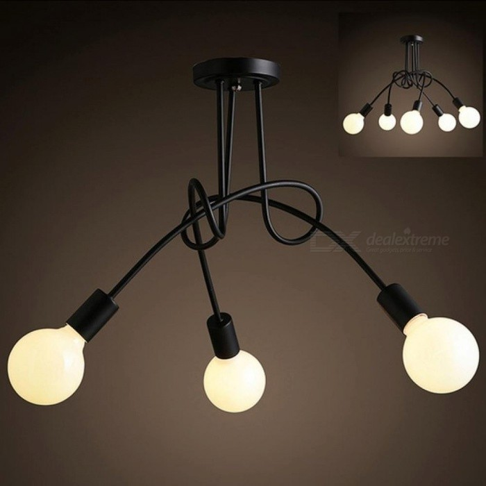 Simple Creative Black & white E27 Ceiling Lamp Vintage Personality Modern Brief LED Chandelier Light