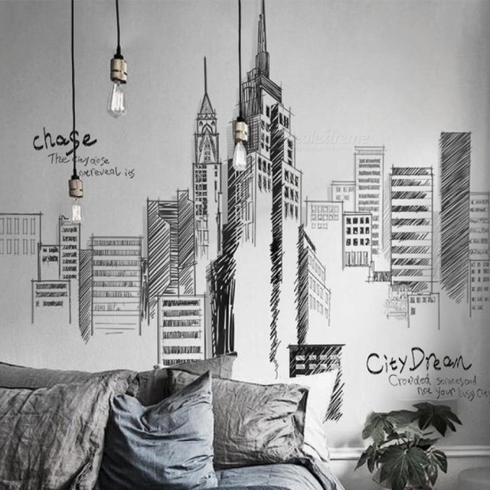 Black Color Large Tall City Buildings Set Wall Stickers PVC DIY Mural Art for Living Room Sofa Decoration Background Decal C