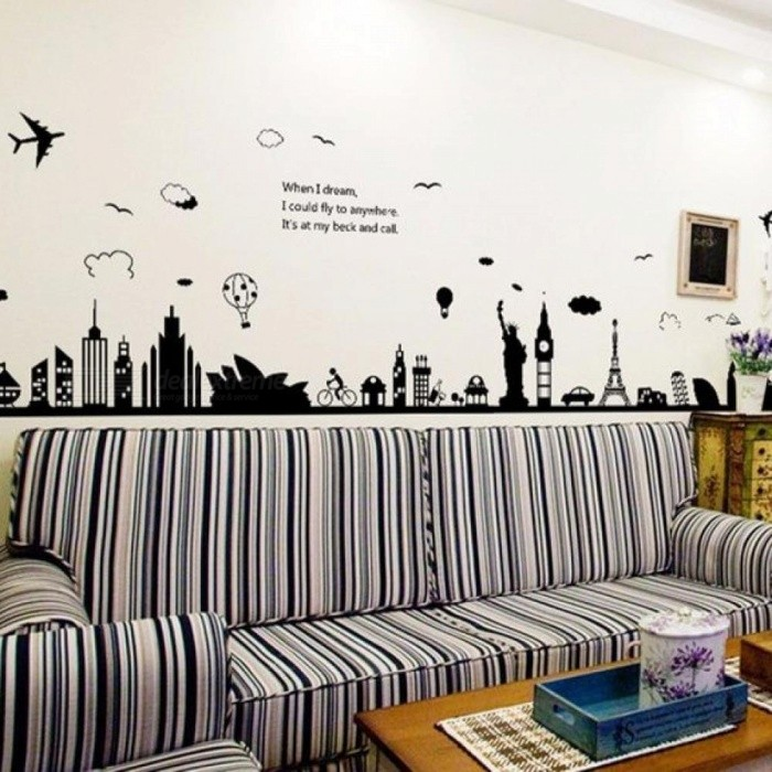 Buy Eiffel Tower Sydney Greek City Building Set DIY Wall Stickers Living Room Background Decor Mural Decal Wallpaper DIY Wall Stickers with Litecoins with Free Shipping on Gipsybee.com