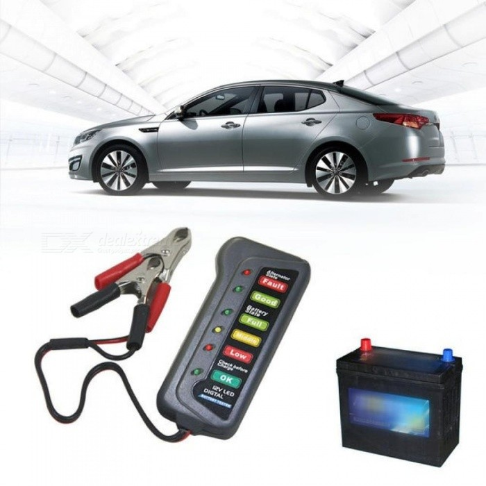 Buy Mini 12V Automotive Car Vehicle Battery Tester Charger/ Alternator/ Cranking Check with 6-LED Display Easy to Use Black with Litecoins with Free Shipping on Gipsybee.com