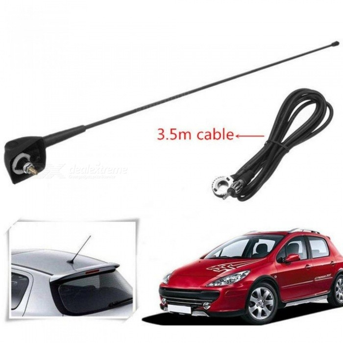 Car Auto Roof Radio Antenna FM/AM Signal Booster Amplifier Aerials Whip Mast for Peugeot 106 205 206 306 307 309 405 406 806 807 Black