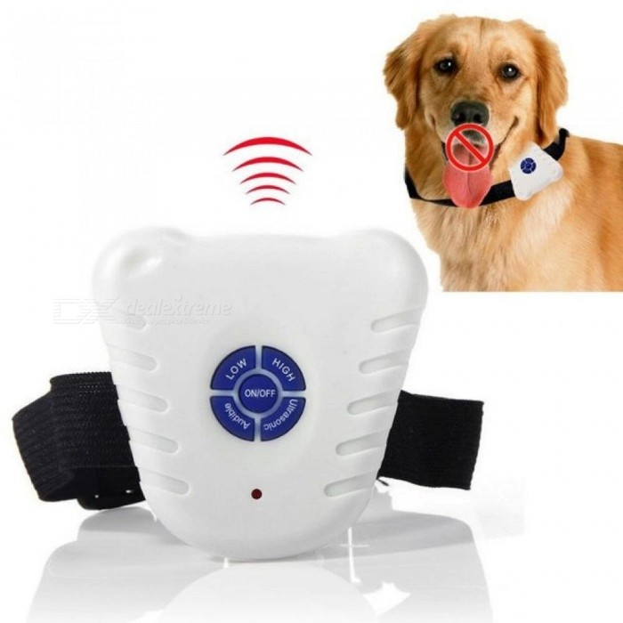Buy Waterproof Dog Stop Barking Control Collar Training Device Button Clicker Adjustable Ultrasonic Dog Anti Bark Collar White with Litecoins with Free Shipping on Gipsybee.com