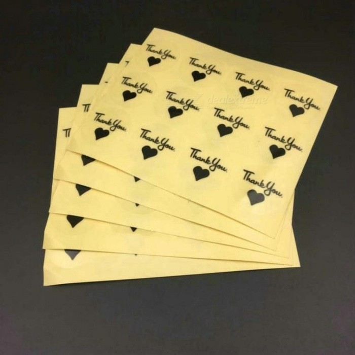 Buy 1000 PCS Transparent Black Love Heart Thank You Sticker for Gift Sealing Label Sticker Round Sealing Sticker 1000 Pieces / Lot with Litecoins with Free Shipping on Gipsybee.com
