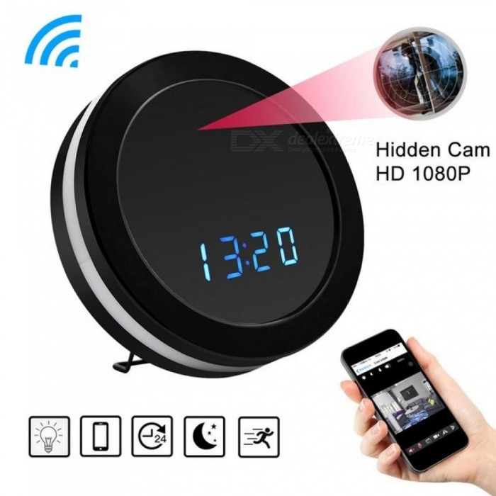 Buy HD 1080P WiFi Round Clock Mini Camera Night Vision Motion Sensor Video Audio Recorder DVR Wireless Surveillance Cam Colorful Cam with 4G TF Card with Litecoins with Free Shipping on Gipsybee.com