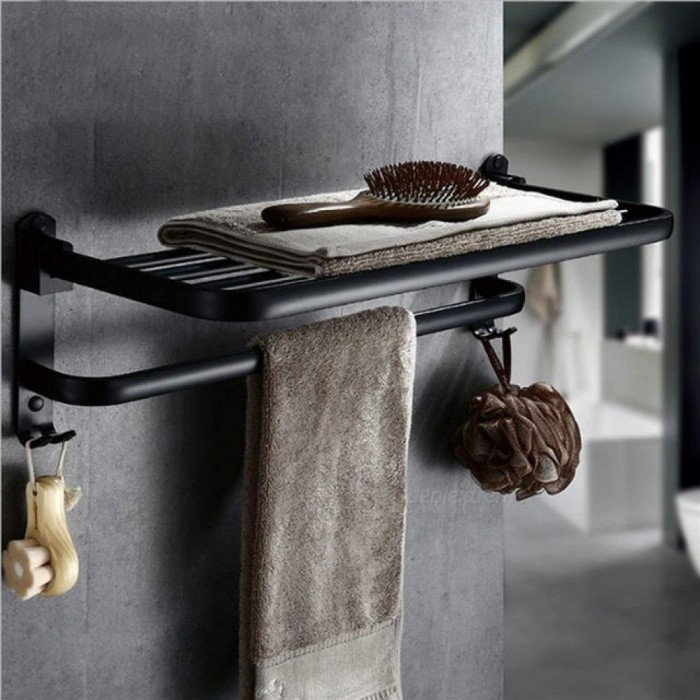 Buy Aluminum Foldable Black Wall Mounted Bathroom Towel Rack Towel Holder Foldable Towel Shelf 2 Types Towel Rack 590mm with Litecoins with Free Shipping on Gipsybee.com