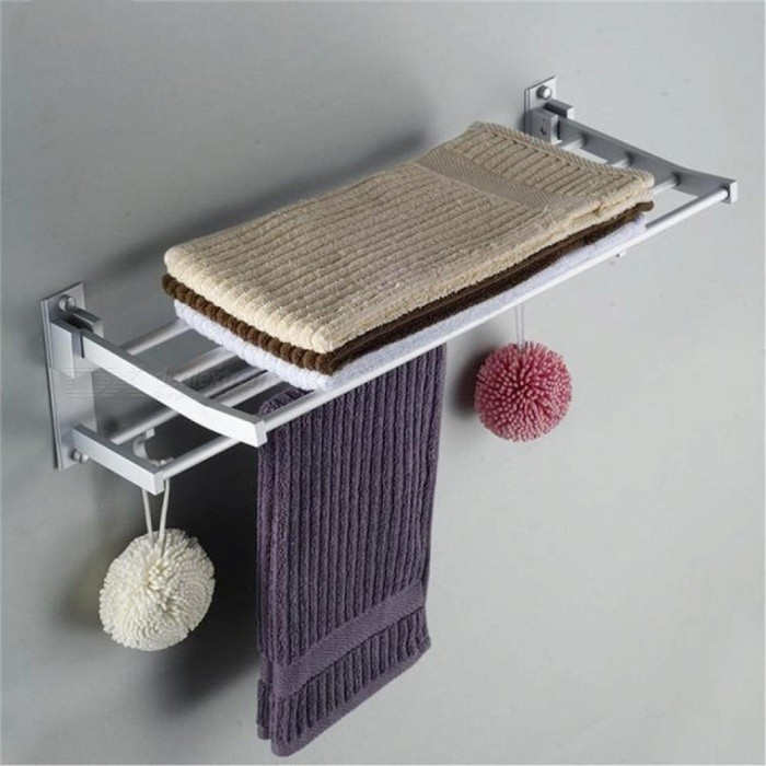 Buy Alumimum Foldable Bathroom Towel Rack Holder Storage Hanger Kitchen Hotel Towel Clothes Shelf With 5 Hooks Bathroom Towel Rack Holder with Litecoins with Free Shipping on Gipsybee.com