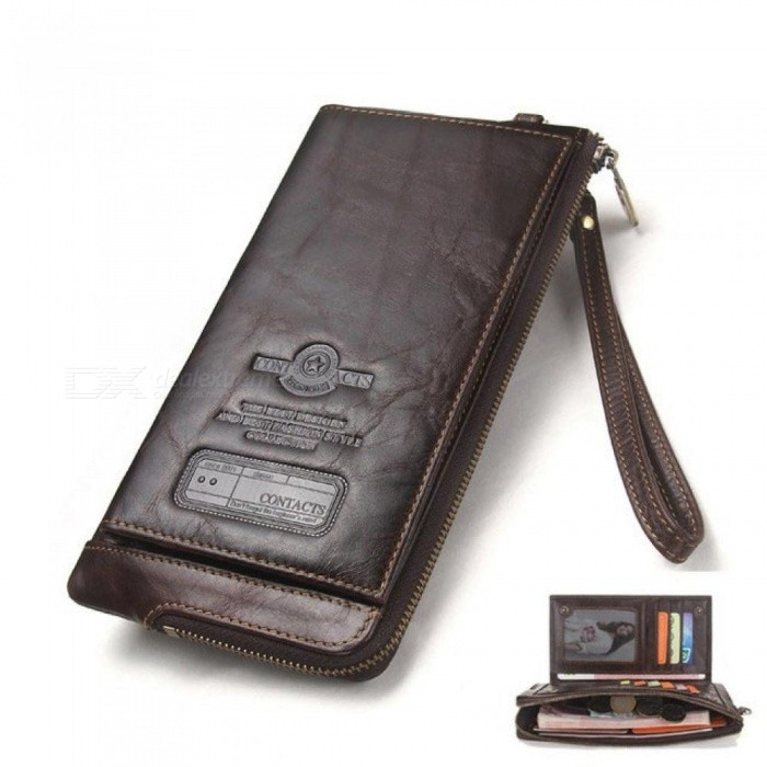Fashion-Men-Wallet-Clutch-Genuine-Leather-Wallet-Male-Organizer-Cell-Phone-Clutch-Bag-Long-Coin-Purse-Red