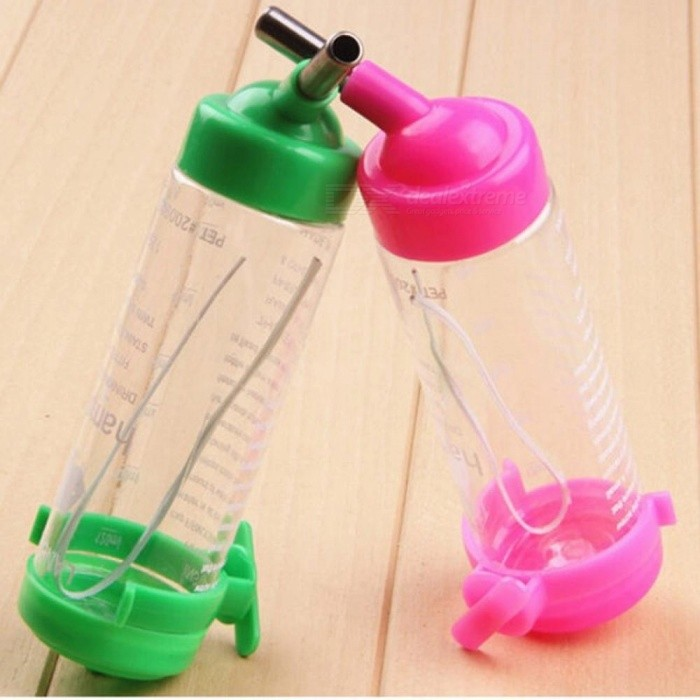 1PCS 80ML Plastic Hamster Water Bottle Holder Dispenser Hanging Pet Cat Dog Bowl Auto Drinking Head Pipe Fountains Water Feeder one Size/Random Color