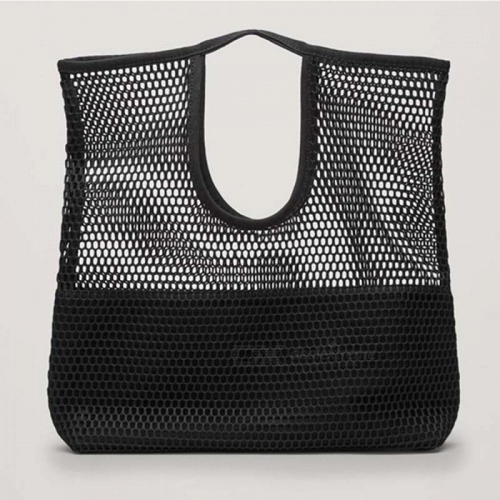 Fashion-Hollow-Mesh-Design-Women-Handbag-Holiday-Tote-Lady-Beach-Bags-Net-Simple-Shopping-Baby-Party-Funny-Bucket-Bag-Black