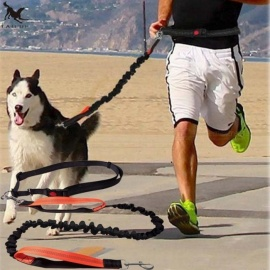 Dogs-Leash-Running-Elasticity-Hand-Freely-Pet-Products-Dog-Harness-Collar-Jogging-Lead-And-Adjustable-Waist-Rope-LBack-and-Orange