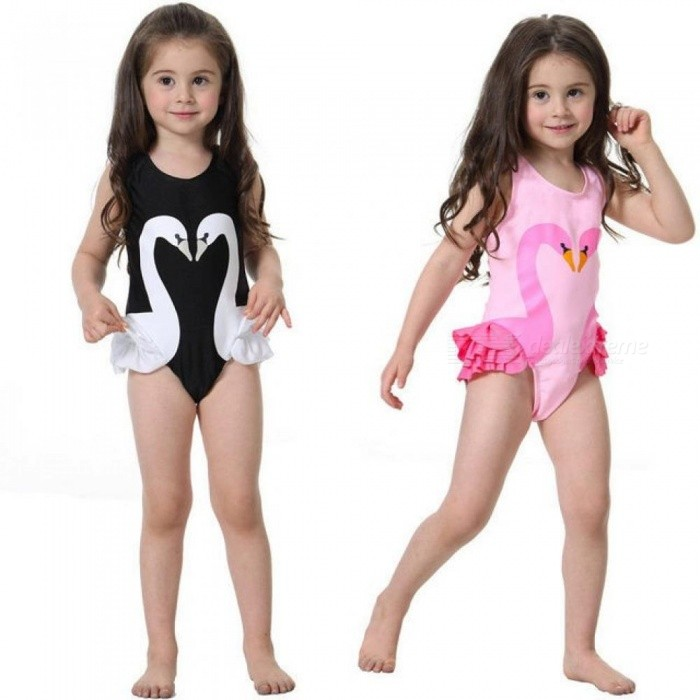 Girls-Swimwear-Cute-Kids-Swimsuit-with-Swimming-Cap-Swan-Flamingo-Baby-Girl-Bathing-Suit-One-Pieces-Swim-Wear-For-Children-S-(0-1years)Black-Swan
