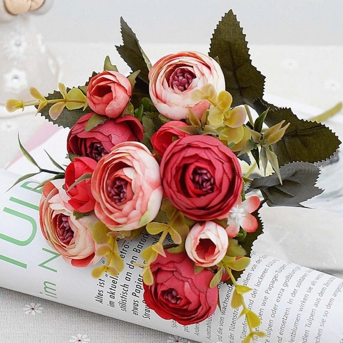 Silk Artificial Flowers, European Fall Small Tea Bud Fake Leaf Wedding Home Party Vases For Decoration