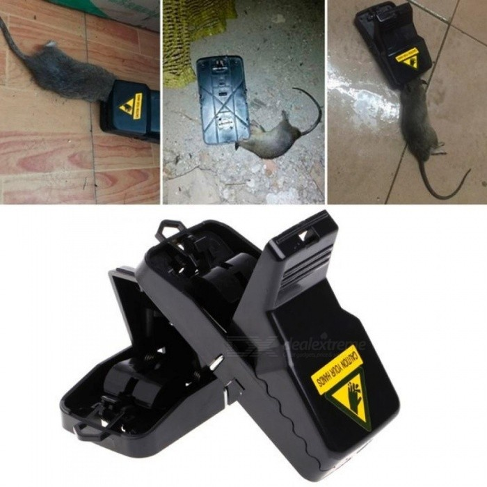 Reusable Rat Trap Catching Mice Mouse Mousetrap Spring Rodent Easy Catcher Easy To Bait Black Color With 2 PCS 2pcs