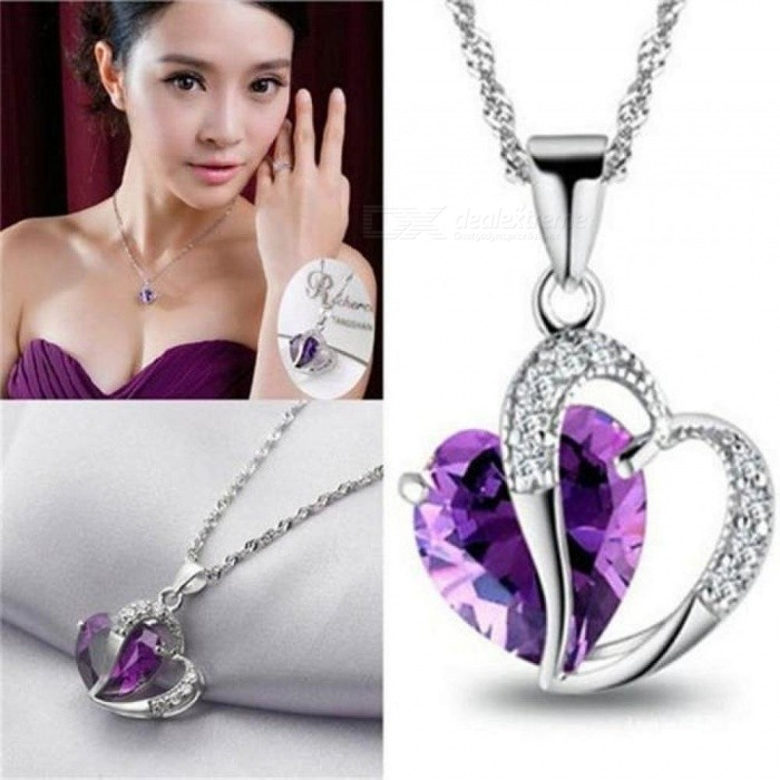 Classic Women Girls Lady Heart Crystal Pendant Amethyst Maxi Statement Pendant Necklace Jewelry 7 Colors Optional