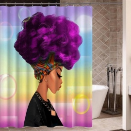 African-Woman-with-Purple-Afro-Hair-Shower-Curtain-Polyester-Fabric-Printing-Bathroom-Curtain-Waterproof