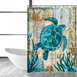 Sea-Turtle-Waterproof-Shower-Curtain-Octopus-Home-Bathroom-Curtains-with-12-Hooks-Polyester-Fabric-Bath-Curtain-150W-x-180H001