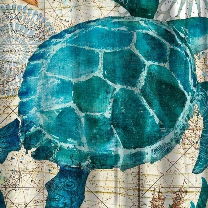 Sea Turtle Waterproof Shower Curtain Octopus Home Bathroom Curtains With 12 Hooks Polyester Fabric Bath