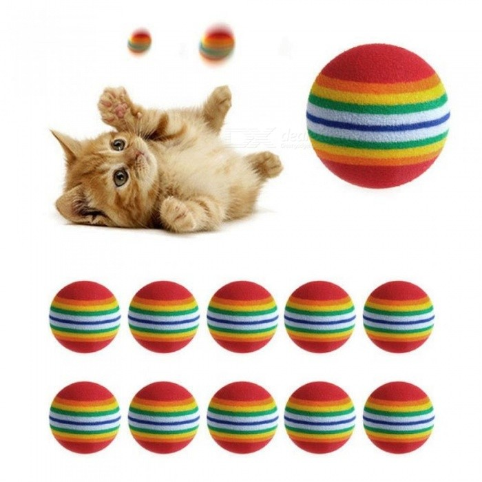 Colorful Cat Toy Ball Interactive Cat Toys Play Chewing Rattle Scratch Natural Foam Ball Training Pet Supplies 10PCS 10pcs for sale for the best price on Gipsybee.com.