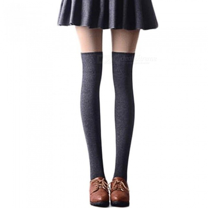 Sexy Fashion Women Girl Thigh High Stockings Knee High Socks,5 Colors Cute Long Cotton Warm Over The Knee Socks Black