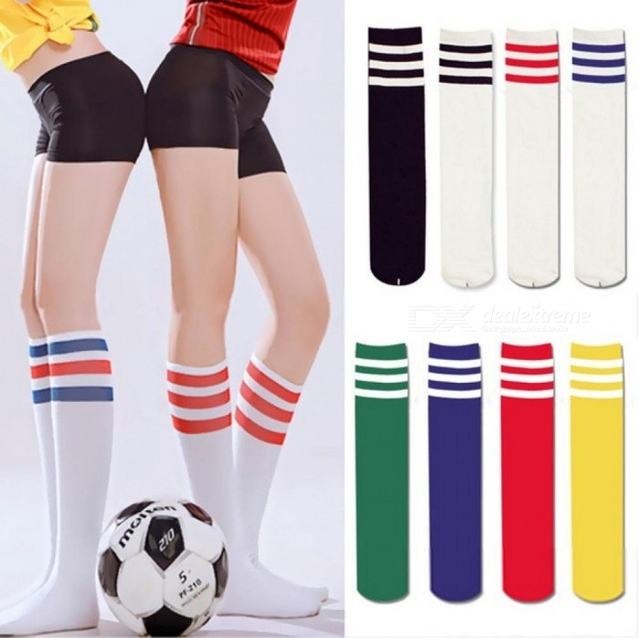 Buy Sexy Women Color Classic Striped Cotton Socks Lacrosse Long Socks Ladies Knee High 3 Line Solid Socks Warm Black with Litecoins with Free Shipping on Gipsybee.com