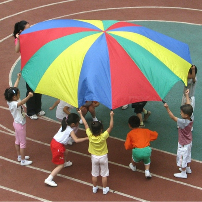 Buy 2M Rainbow Umbrella Parachute Toy Child Kid Sports Outdoor Development Toy Jump-sack Ballute Play Parachute 8 Bracelet 2M with Litecoins with Free Shipping on Gipsybee.com