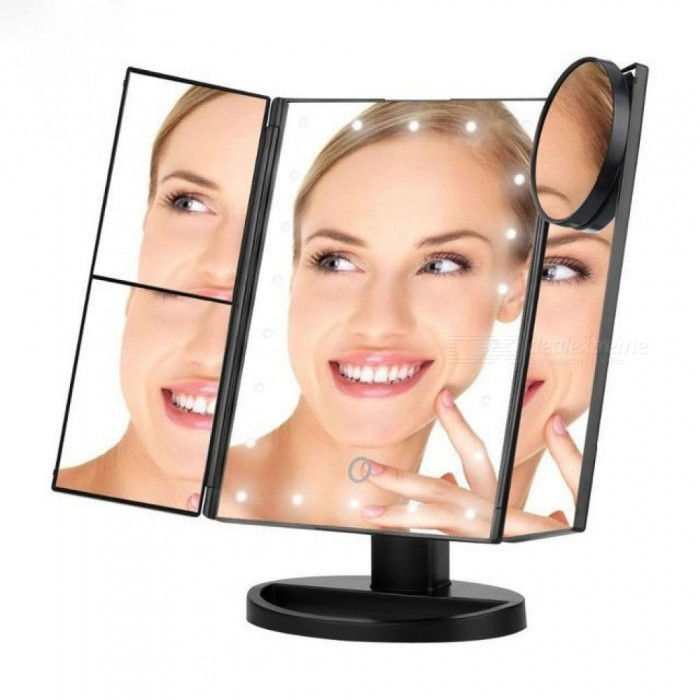 Buy Vanity Makeup Mirror 22 LED Lighted Touch Screen 1X 2X 3X 10X Magnification Foldable Adjustable Maquiagem LED Mirror Black with Litecoins with Free Shipping on Gipsybee.com