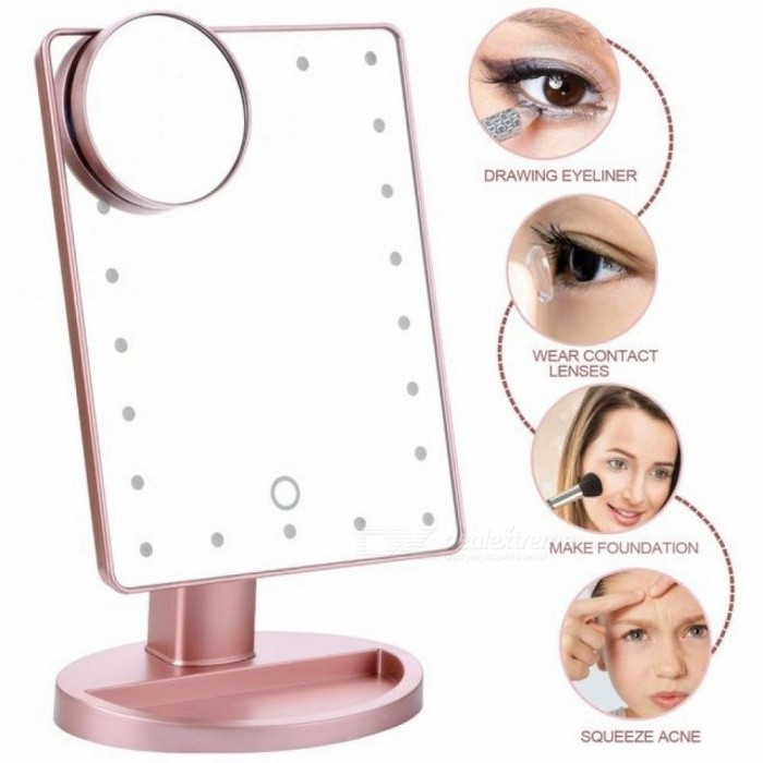Buy 180 Degree Rotation Makeup Mirror with Led Light 10X Magnifying Mirror with Suction Cups Vanity Mirror Light Makeup Accessories Black with Litecoins with Free Shipping on Gipsybee.com