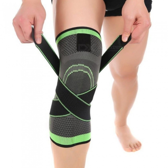 1-PC-3D-Pressurized-Fitness-Running-Cycling-Knee-Support-Braces-Elastic-Nylon-Sports-Compression-Pads-Sleeve-for-Basketball-LGreen