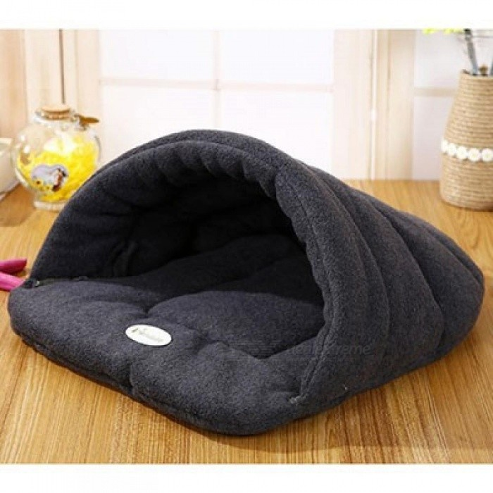 Pet-Cat-Bed-Small-Dog-Puppy-Bed-Kennel-Sofa-Polar-Fleece-Material-Bed-Pet-Mat-Cat-House-Cat-Sleeping-Bag-Warm-Nest-Black