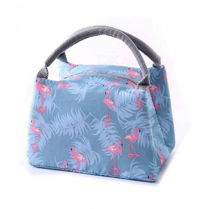 Animal Flamingo Lunch Bags Women Portable Functional Canvas Stripe Insulated Thermal Food Picnic Kids Cooler Lunch Box Bag Tote 1