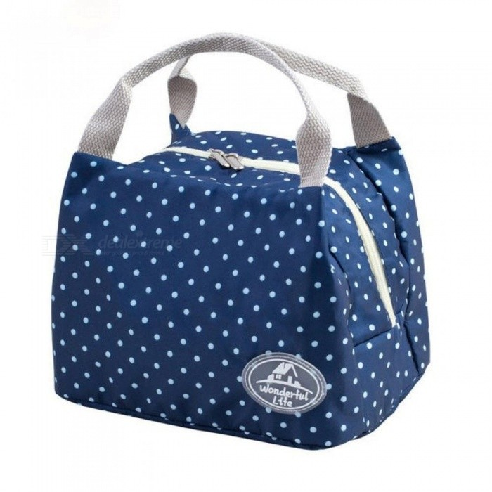 Portable Lunch Bag Thermal Insulated Snack Lunch Box Carry Tote Storage Bag Travel Picnic Food Pouch for Girls Women Blue