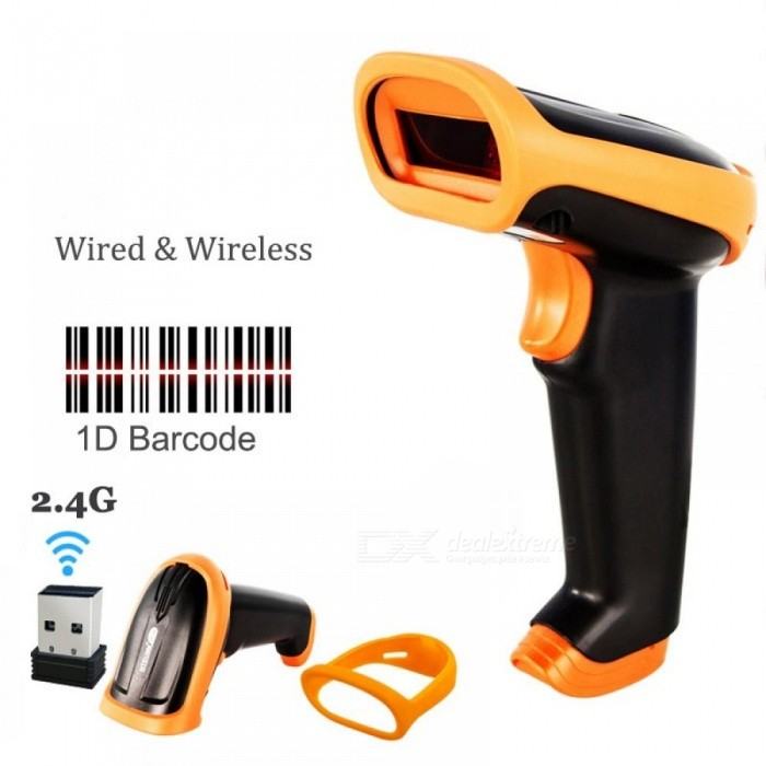 Wireless Barcode Scanner 2 4G 30m Laser Bar Code Reader Wireless/Wired For  POS and Inventory USB 2 4G HW-S2 (Wireless)
