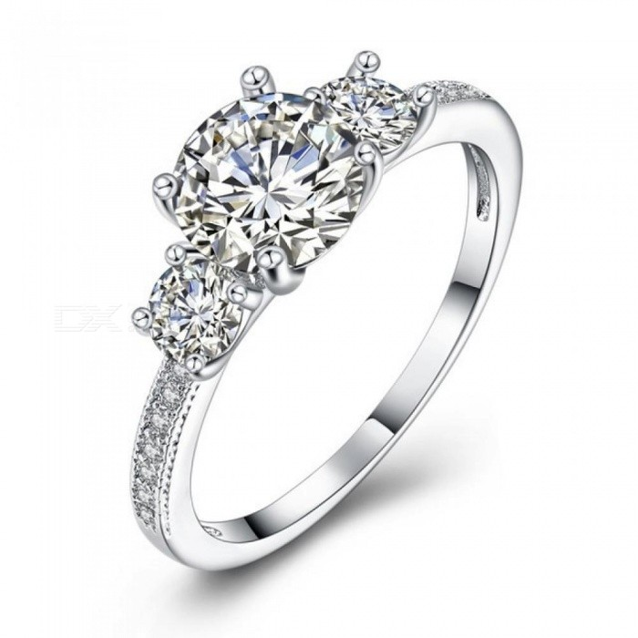 Sparkling CZ Ring for Women Engagement Jewelry Anniversary Gift Rhodium Color Princess Crown Romantic Ring Rhodium Plated