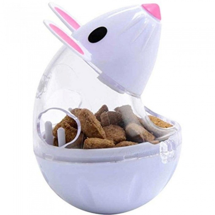 Buy Cute Pet Feeder Toy Cat Mice Shape Food Rolling Leakage Dispenser Bowl Kitten Playing Training Educational Toys 34g/4.3x5x7cm/White with Litecoins with Free Shipping on Gipsybee.com