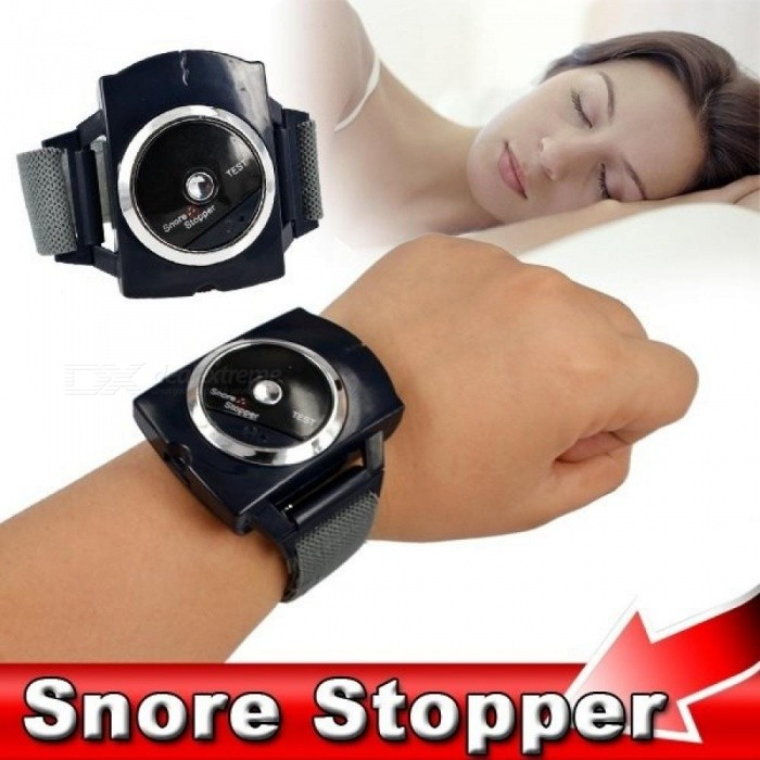 Electronic Snore Stopper Biosensor Anti Snore Wristband Watch Cessation Cure Solution Pure Sleeping Night Guard Aid Black
