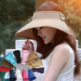 Spring Summer Visors Cap Foldable Wide Large Brim Sun Hat Beach Hats for  Women Straw Hat a116e0d1e83c