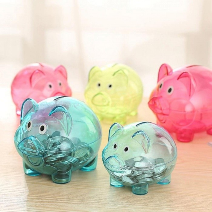 Transparent Plastic Money Saving Box Case Coins Piggy Bank Cartoon Pig Shaped Blue And Pink Two Color Optional Pink for sale in Bitcoin, Litecoin, Ethereum, Bitcoin Cash with the best price and Free Shipping on Gipsybee.com