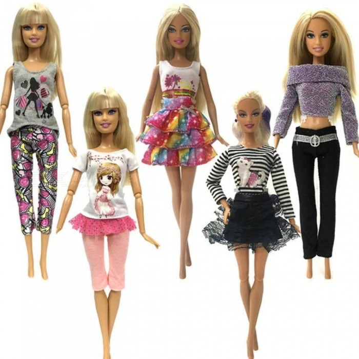 5 Pcs Handmade Fashion Clothes for Barbie Doll Fashion Dress Baby Girl Birthday New Year Present for Kids 5 Colours