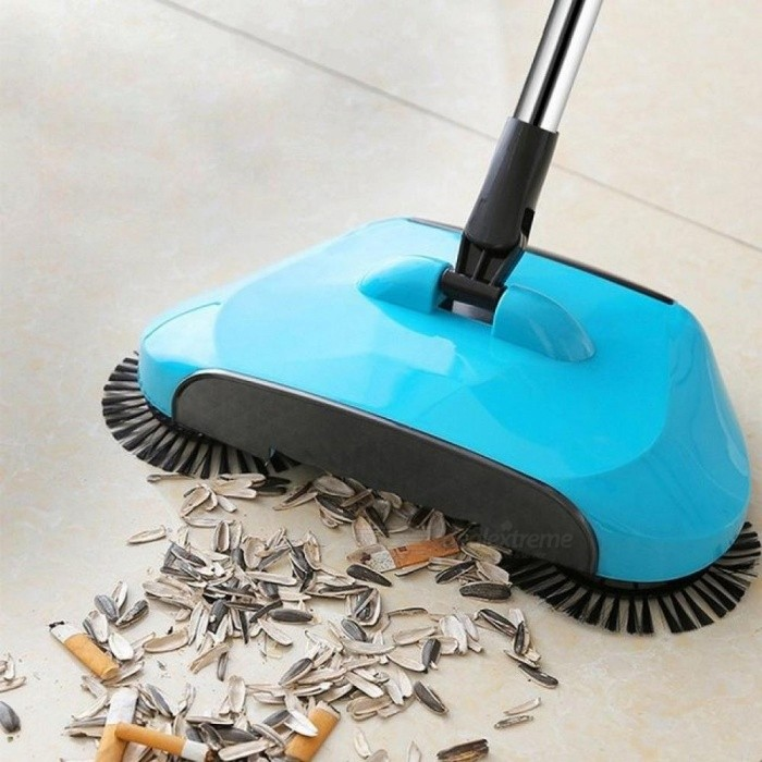 Stainless Steel Sweeping Machine Push Type Hand Push Magic Broom Dustpan Handle Household Cleaning Package Hand Push Sweeper Mop Grey
