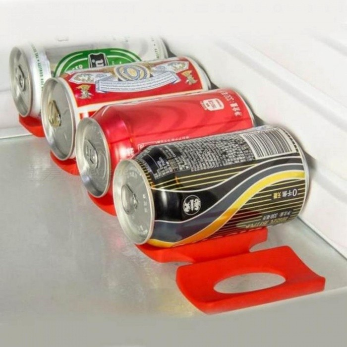 Silicone Storage Holder Mat Refrigerator Fridge Beer Rack Space Saver Organizer With Red Color 30.6*9.5cm Red