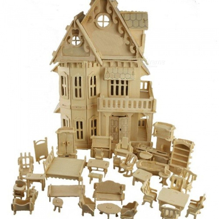 30*18*45cm Toy Gothic Dolls House Wooden Scale Models 3D Puzzle DIY Play Doll House 1 House + 34 Furnitures Wood