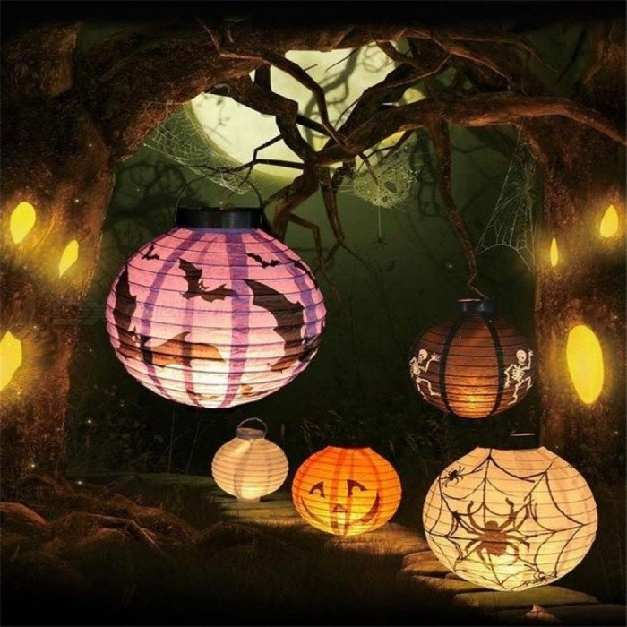 1 PC High quality LED Paper Pumpkin Lantern Spider Hanging Light Lamp Halloween Party Decoration Accessories