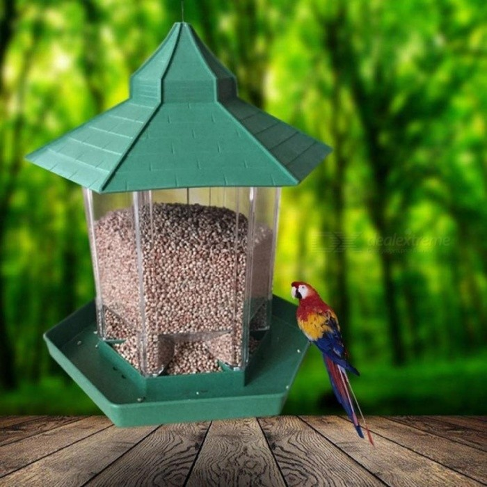 Popular-Waterproof-Gazebo-Hanging-Wild-Bird-Feeder-Outdoor-Feeding-For-Garden-Decoration-With-Green-Color-LGreen