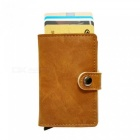 RFID-Protected-Vintage-Automatic-Leather-Credit-Card-Holder-Men-Aluminum-Alloy-Hasp-Business-ID-Multifunction-Cardholder-Wallet-deep-brown