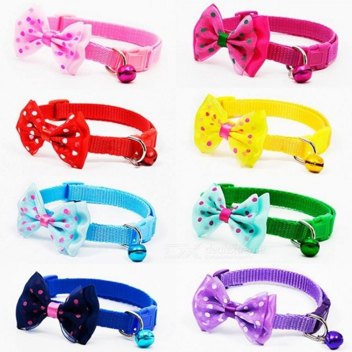 Cute Adjustable Polyester Dog Collar, Puppy Pet Necklace Collar with Bowknot and Bells for Dogs Cat
