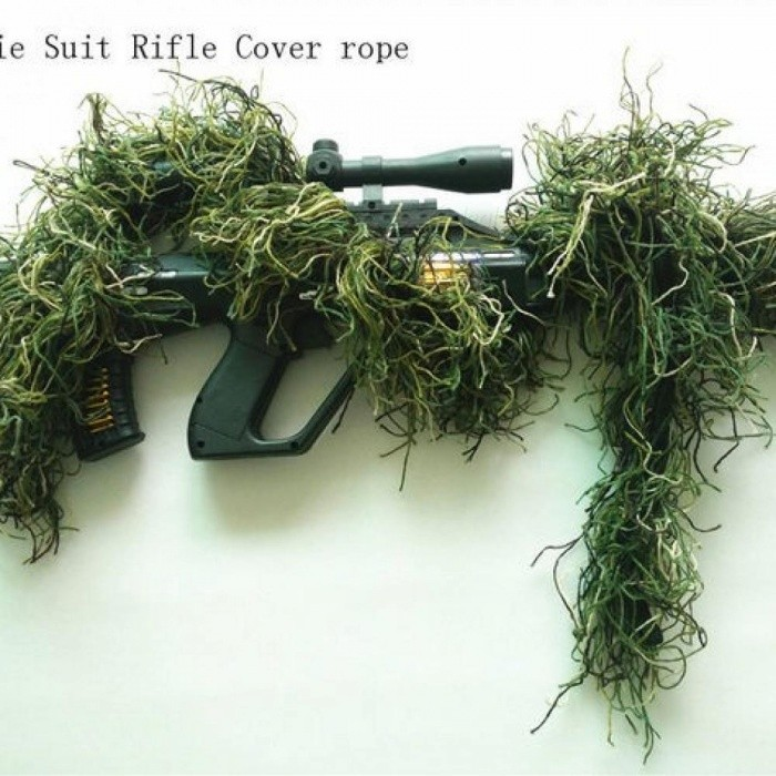 Hunting Rifle Wrap Rope Grass Type Ghillie Suits Gun Cover For camouflage Yowie Sniper Paintball Hunting Clothing Green