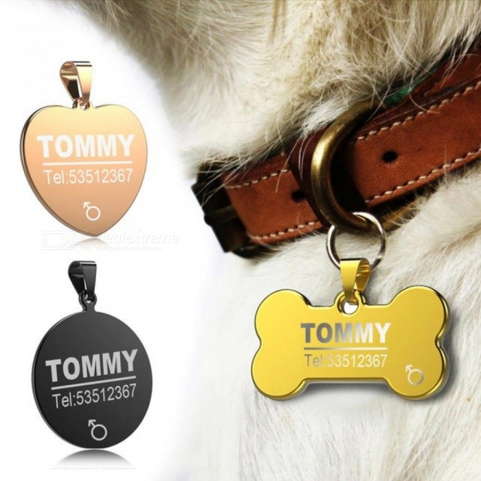 Anti-Lost Stainless Steel Dog ID Tag Engraved Pet Cat Puppy Dog Collar Accessories Telephone Name Tags Pet ID Tags S/Gold